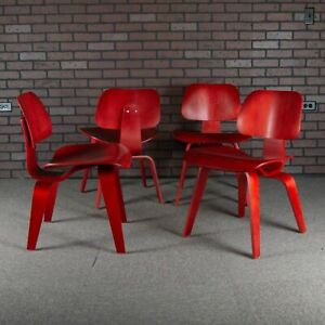 Eames Dcw For Herman Miller Plywood Dining Chair Set Of 4 Aniline Red