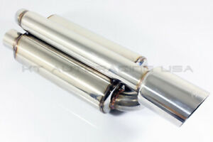 2 5 Inlet 4 Out Stainless Steel Twin Loop Canister Exhaust Slant Muffler Tip