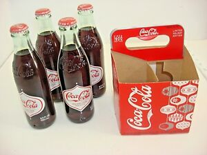 Lot 4 Coca Cola  2008 Holiday Limited Edition Bottles W/Carrier Unopened Full