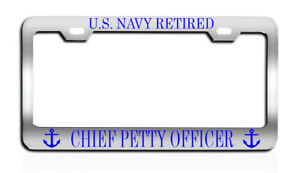Us Navy Retired Chief Petty Officer License Plate Frame Tag Metal Chrome