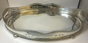 Large Antique Victorian Silver Plate Gallery Serving Twin Handled Tray 20 5