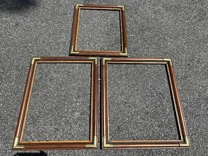 Vintage Stained Wood Brass Corners Picture Art Frame 20 X 16 24 X 18 Lot Of 3