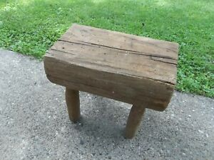 Vintage Solid Beam Primitive Wooden Country Rustic Farmhouse Bench Stool