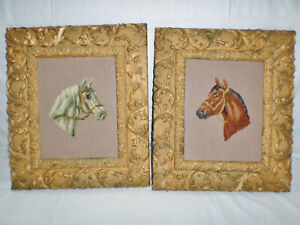 Antique Pair Victorian Frames With Needlepoint Pictures Of Horses