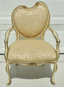 Antique Vtg French Provincial Wood Upholstered Dining Accent Desk Arm Chair