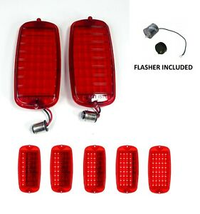 Pair Led Sequential Tail Lights W Flasher For 1960 66 Chevy Gmc Fleetside Truck