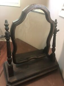 Antique Vtg Wood Framed 20 X 18 Cheval Vanity Mirror With Stand And Base