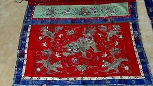 Antique Chinese Gold Silver Thread Foo Lion Silk Altar Embroidery Banner 1
