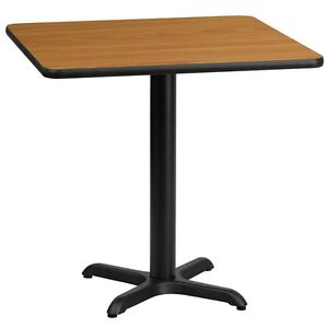 30 Square Natural Laminate Table Top W 22 X 22 Table Height Base black New