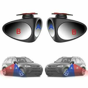 2 Pack 360 Rotatable 2side Car Blind Spot Convex Rear View Parking Mirror Black