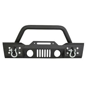 Stubby Front Bumper Winch Plate W fog Light Housing For 07 18 Jeep Wrangler Jk