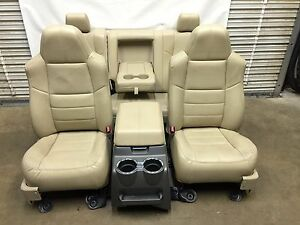1999 2010 Ford F250 F350 F450 Super Duty Front And Rear Seats Tan Leather