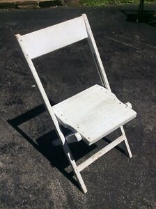 Vintage Snyder Painted White Wood Folding Chair Very Good