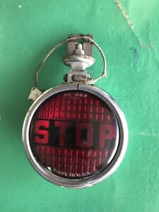 Vintage Red Stop Tail Light Glass Chrome With Harness Hot Rat Rod Motorcycle