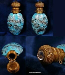 Victorian Turquoise Silver Aventurine Perfume Scent Bottle For Chatelaine 1870