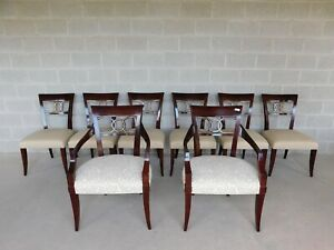 Baker Regency Style Mahogany Dining Chairs Set Of 8