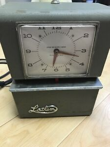 Antique Vintage Lathem Time Clock Working With Lock And Key Model 4021