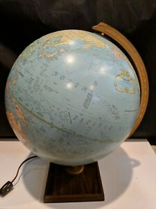 Vintage Replogle 12 World Premier Series Globe Lighted Square Wooden Base