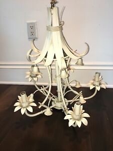 Vintage Faux Bamboo Chandelier 5 Light Italian Tole Metal Pagoda Palm Beach