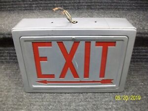 Vintage Glass Metal Double Sided Working Exit Arrow Sign Art Deco