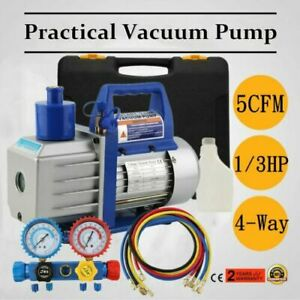 Hvac 1 3hp 5cfm Vacuum Pump Air Ac Set 4 way A c Aluminum Manifold Gauge 5ft Bt