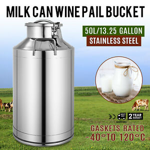 50 L Stainless Steel Can Milk Canister milk Pot Bucket Gallon Milker with Lid