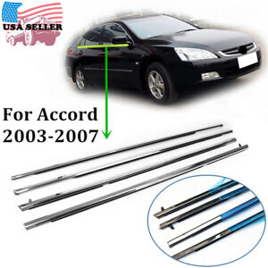 Car Weatherstrip Window Moulding Trim Seal Belt For Honda Accord 2003 2007 4pcs
