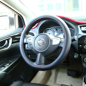 Us Auto Car Truck Microfiber Leather Steering Wheel Cover Protector Black