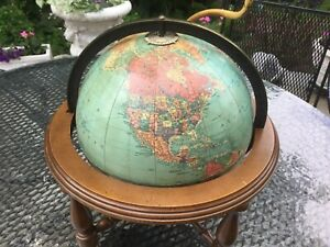 George F Cram Terrestrial Globe Lamp Antique Pre 1949