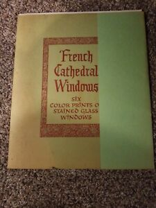 Set Of Six 6 Vintage Color Prints Of Medieval French Stained Glass Windows