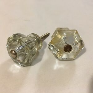 True Vtg Lot 2 Depression Clear Glass Cabinet Drawer Furniture Pull Knobs