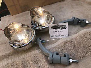 Pair 6 Volt Small Vintage Style Fog Lights Visors And Gray Brackets