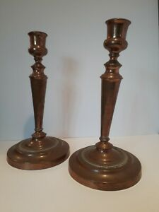 Pair Of 19th Century Antique Copper Pewter Candlesticks Lovely Age And Patina