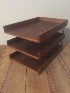 Vintage Large Wood Desk 3 Tray Organizer Office Box File Paper Dapco Mid Century