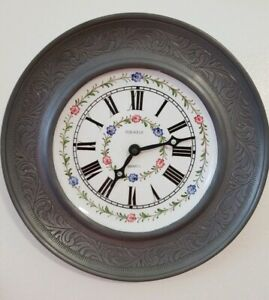 Vintage Kienzle German Wall Clock Pewter Outside 10 5 Inch Bassano Stamped Rare