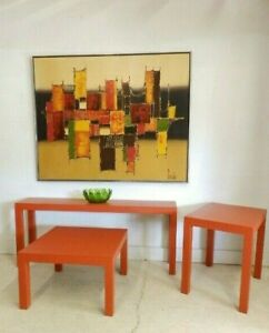 Set 1970s Vintage Mid Century Modern Parsons Coffee Sofa End Tables Red Orange