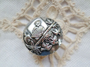 Antique Silverplate Top And Celluloid Pill Patch Box With Chinese Design