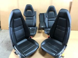 2012 Porsche Panamera Turbo Front And Rear Leather Bucket Seats Black