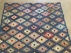 Stunning Vintage 30 S Diamond Flower Garden Path Quilt Beautiful Colors Rare