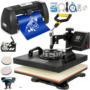 5in1 Heat Press 15 x15 Vinyl Cutter Plotter 14 Pattern Swing Away Usb Port