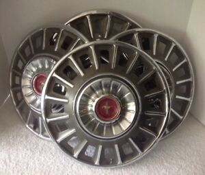 Vintage Ford Mustang Hubcaps Wheel Covers Red Center Caps