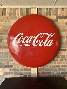 "Nice Original 1960s 48"" Porcelain Coca Cola Button Sign"