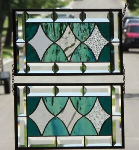 Siblings Set Of 2 Beveled Stained Glass Window Panels