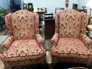 Charles Stewart Wingback Queen Anne Chairs