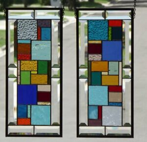 It S Color Time Set Of 2 Beveled Stained Glass Window Panels