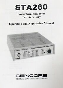 New Sencore Sta260 Owners Manual Test Accessory To The Sencore Lc103