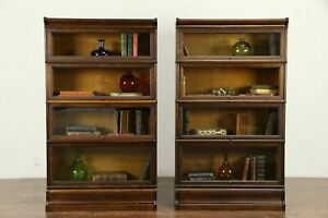 Pair Of Quarter Sawn Oak Antique 4 Stacking Lawyer Bookcases Macey 31343