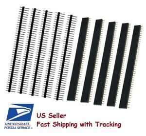 5 Pairs Male Female 40 Pin 2 54mm Single Row Straight Pin Header Strip Usa