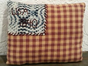 Prim Homespun Pillow Tuck Antique Woven Coverlet Farmhouse Patriotic Usa