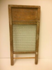 Vintage Columbus Washboard Co Glass And Wood Frame Travel Size